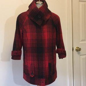 B B Dokota Wool Blend Red Plain Jacket SZ Sm